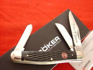 "Boker Germany Tree Brand 4"" Black Jigged Stockman 3 blade Stock Knife MIB"