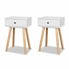 2 Retro Bedside Tables White End Table Nightstands Bedroom Living Room Cabinets