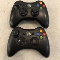 2 VG Official Microsoft Xbox 360 BLACK Wireless Controllers Genuine Original OEM