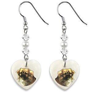 Tibetan Spaniel 925 Sterling Silver Heart Mother Of Pearl Dangle Earrings EP200