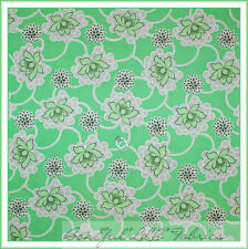 BonEful Fabric FQ Cotton Quilt Green White VTG Amy Butler Flower Dot Daisy Retro