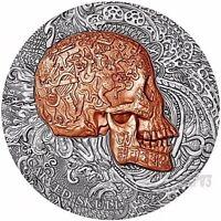 2017 1 Oz Silver 1000 Francs CARVED SKULL BONES Coin, Cameroon.