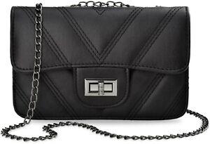 elegante gesteppte Schultertasche LIKE Damentasche City Style schwarz