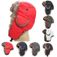Men Winter Trapper Aviator Trooper Earflap Warm Russian Ski Hat Fur Bomber Hot