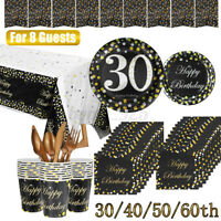 30/40/50/60th Paper Birthday Party Tableware Plates Napkins Cup Banner Set 58PCS