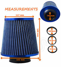 BLUE K&N TYPE UNIVERSAL FREE FLOW PERFORMANCE AIR FILTER & ADAPTERS - Ford 1