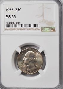 1937 25c Washington Silver Quarter Dollar NGC MS65 Brilliant Uncirculated
