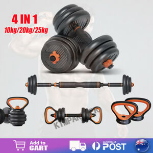 4 In 1 Adjustable Dumbbell Set Barbell Kettlebell Push Up Exercise Fitness