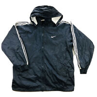 Nike White Tag Vintage Mens XL Blue Swoosh Spell Out Lined Windbreaker Jacket