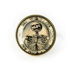 Gothic Victorian Memento Mori Death Skeleton Antique Bronze Mourning Glass Ring