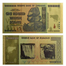 Zimbabwe 100 Trillion Dollars Banknote Color Gold Bill World Money Collect LET