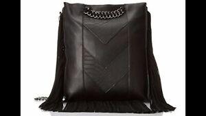 NWT Steve Madden Btereza Fringe Clutch Bag, Black, One Size