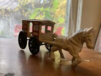 Antique Vintage Cast Iron Horse Drawn Carriage Fresh Milk