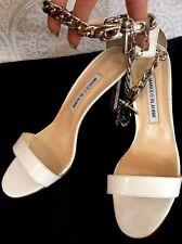 Manolo Blahnik Shoe White Patent High Sandal Ankle Chain Size 37 1/2