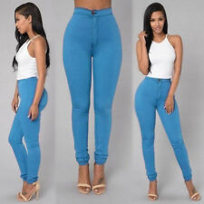 Women Pencil Stretch Casual Look Denim Skinny Jeans Pants High Waist Trousers 01