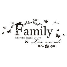 Family Love Quote Butterfly Nature Flowers Wall Art Vinyl Decal Sticker Transfer