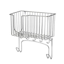 NEW Metal Wall Mount Ironing Board Holder with Small Storage Basket UK J9L7