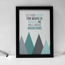 He Will Move Mountains Kids Quote Prints Playroom Room Kids Decor Print Nursery