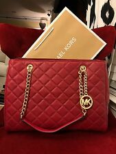NWT MICHAEL KORS QUILTED LEATHER SUSANNAH LARGE TOTE BAG IN CHERRY/GOLD-HRDWR
