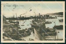 Trieste Città Barche Faro MACCHIE cartolina VK1686