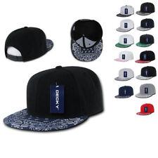 DECKY Trendy Paisley Bandana Snapback Two Tone 6 Panel Flat Bill Hats Caps