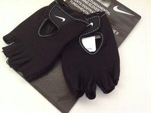 New Nike Women's Fundamental Fitness Training Gloves Black Medium