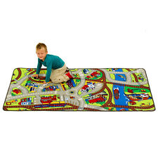 City Train Track Map Play Rug Baby Boys Bedroom Carpet Daycare Preschool Mat Toy
