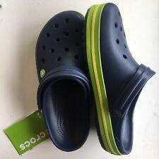 New Crocs Crocband Unisex Clog Navy/ Green/ Lemon Shoes M7 W9 Slippers Shoes