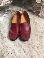 Tods Womens Red Leather Loafers Size 7 Driving Moc Toe Comfort $388