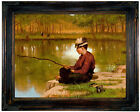 Brown Waiting for a Bite 1886 Wood Framed Canvas Print Repro 12x16
