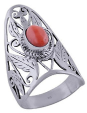 925 Sterling Silver 5.8 grams w/ Coral Cabochon Stone Statement Ring Sz 8