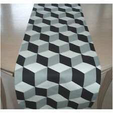 "Table Runner 4ft Black and  Grey Cubes 48"" 3D Cube 120cm Geometric Modern Retro"