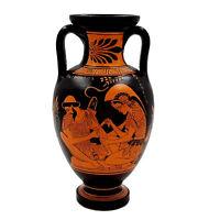 Ancient Greek Vase 22cm,Red figure Amphora,Achilles with Patroclus,Zeus Ganymede