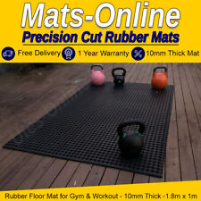 Premium Non Slip Floor Mat for Gym & Workout - 10mm Thick - 1.8m x 1m