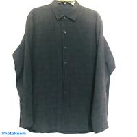 Tommy Bahama Men's Silk Wool Blend Long Sleeve Button Up Shirt Size XL Embroider