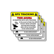 Acura Security Yellow Warning GPS Tracking Decal Stickers 4 PACK
