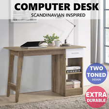 Scandinavian Office Computer Desk Student Writing Study Table Workstation Shelf