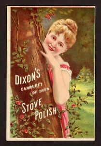 DIXON'S CARBURET OF IRON STOVE POLISH Victorian Trade Card Pretty Lady in Forest