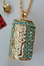 NEW! Betsey Johnson Crystal Rhinestone Enamel Coca Cola Coke Necklace Pendant