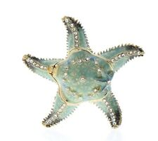 Jeweled Sea Blue Star Fish Ciel Collectible Austrian Crystal Hinged Trinket Box