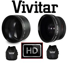 2-Pc HD Telephoto & Wide Angle Lens For Canon Vixia HF R72 R700 R70 R600 R62 R60