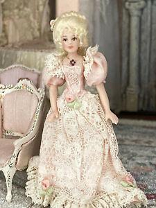 Vintage Artisan Miniature Dollhouse Doll Lady Porcelain 1:24 France Silk Lace