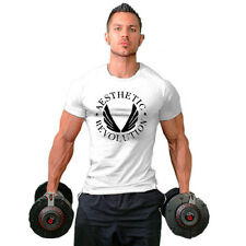 Men Cotton Gym Bodybuilding Tops Workout Clothes Short Sleeve Casual Tops WH XL