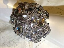 Gothic Vintage Style Silver Crystal Peacock Statement Cuff Bangle Bracelet