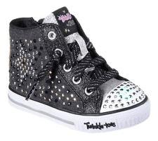 $246 Skechers Kids Girl Black Silver Light Shuffles Athletic Sneakers Shoes 11.5