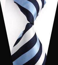 V140 Mens Classic Striped Blue White JACQUARD WOVEN Tie 100% Silk Ties Necktie