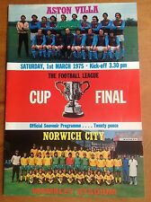 League Cup Final 1975 Aston Villa v Norwich Programme