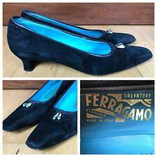 Salvatore Ferragamo Black Suede Shoes Size 7.5 AAA Narrow Made in Italy