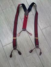 vintage TRAFALGAR baces SUSPENDERS leather elastic BURGUNDY navy striped