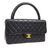 CHANEL Quilted CC Logos Hand Bag 3298616 Purse Black Leather Vintage AK38475